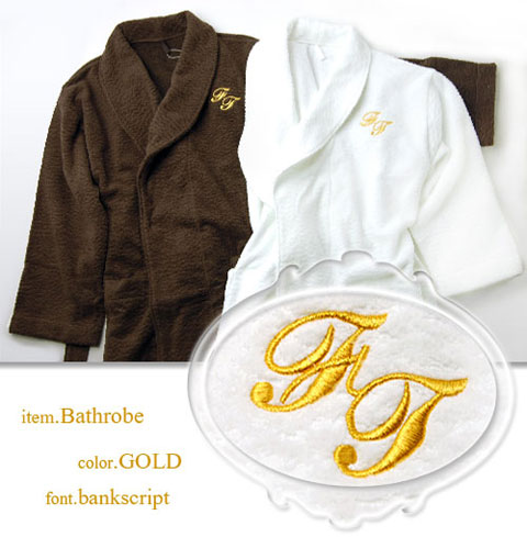 FT バスローブに刺繍・金糸