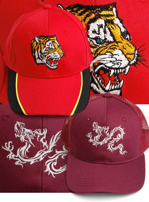 帽子に刺繍。虎&龍