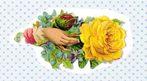 ドイツのクロモス(Chromos)手と黄色いバラ