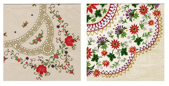 バラ売り ペーパーナプキン【DAISY】ポーランド製 アンティーク刺繍柄