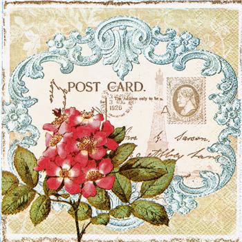 ばら売り ペーパーナプキン IHR【ドイツ製】赤い野ばら、切手、POST CARD、アンティークフレーム