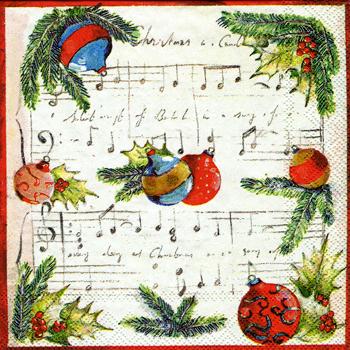 ばら売り1枚 ペーパーナプキン IHR【ドイツ製】音符、楽譜、音譜、クリスマス、ガラス玉、オーナメント