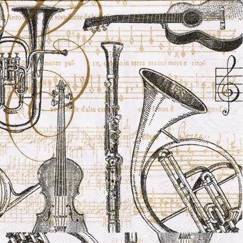 ばら売り1枚 ペーパーナプキン ppd【ドイツ製】音符、楽譜、音譜、楽器、ギター、ホルン、クラリネット、バイオリン