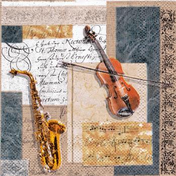 ばら売り1枚 ペーパーナプキン Ambiente【オランダ製】バイオリン、サックス、楽譜、音譜、音符