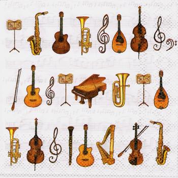 ばら売り1枚 ペーパーナプキン Ambiente【オランダ製】ギター、マンドリン、ヴィオラ、ヴァイオリン、クラリネット、サキソフォン、コントラバス、ハープ、トランペット、譜面台、ト音記号