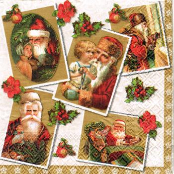 ばら売り1枚 ペーパーナプキン Ambiente【オランダ製】クリスマス、サンタ、サンタクロース、アンティーク、おもちゃ、ヒイラギ