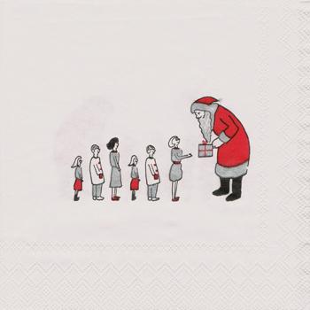 ばら売り1枚 ペーパーナプキン Click moments【ドイツ製】クリスマス、サンタ、サンタクロース、プレゼント