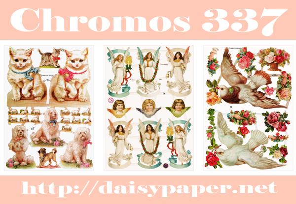 クロモス ドイツ製【CHROMOS 337】デイジーのクロモスが337種類になりました!Made in Germany ふわふわの白猫、パステルカラーの天使、2羽の鳩
