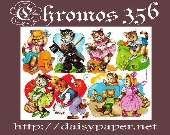 クロモス ドイツ製【CHROMOS 356】デイジーのクロモスが356種類になりました!Made in Germany おしゃれ猫、猫のカップル、アンティーク、ノスタルジック、レトロ、ねこ