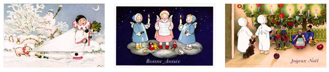 フランス製ポストカード【DAISY】France、クリスマスカード、ノエル、フリッツ・バウムガルテン、Ludom
