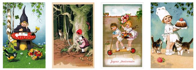 フランス製ポストカード【DAISY】France、ベニテング、クローバー、赤ずきんちゃん、猫、子ども、お菓子、スイーツ、Ludom