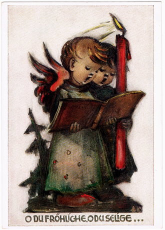 ドイツ アンティーク ポストカード【DAISY】ベルタ・フンメル、ヴィンテージ、ビンテージ、クリスマスカード