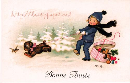 フランス製ポストカード【DAISY】France、クリスマスカード、ノエル、フリッツ・バウムガルテン、Ludom、POST CARD、Christmas、Xmas、犬