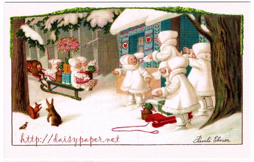 フランス製ポストカード【DAISY】France、クリスマスカード、ノエル、パウリ・エブナー、Ludom、POST CARD、Christmas、Xmas、リス、ウサギ、そり、トナカイ