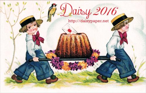 フランス製ポストカード【DAISY】France、Ludom、ヴィンテージ、アンティーク、復刻版、小鳥、子ども、カンカン帽、クグロフ、ラブレター、春