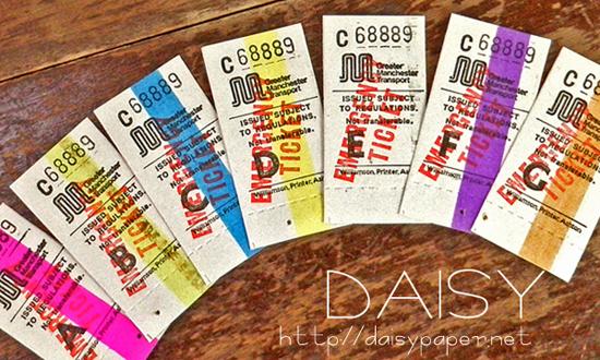 イギリス バスチケット【DAISY】ヴィンテージ、アンティーク、ラベル、リメイク、ラッピング、コラージュ、ロンドン、英国、England、切符、チケット