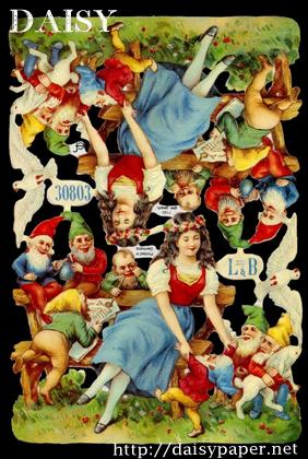 ドイツ製 クロモス【DAISY】CHROMOS、chromos、グランツビルダー、ドイツ、Germany、白雪姫、童話、小人、ドワーフ、スクラップピクチャー、デコパージュ