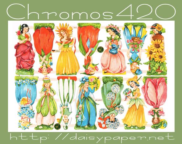 ドイツ製 クロモス【DAISY】CHROMOS、chromos、グランツビルダー、ドイツ、Germany、妖精、フェアリー、スクラップピクチャー、デコパージュ