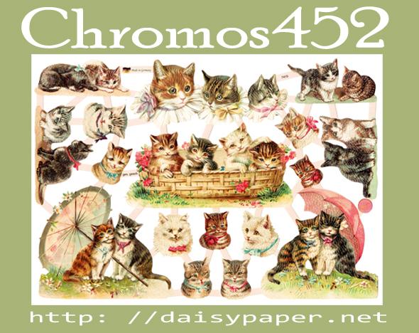 ドイツ製 クロモス【DAISY】CHROMOS、chromos、グランツビルダー、ドイツ、Germany、猫、ねこ、CATS、ネコ、パラソルと猫、スクラップピクチャー、デコパージュ