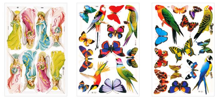 クロモス【DAISY】CHROMOS、chromos、England、グランツビルダー、イギリス製、天使、蝶、パピヨン、鳥、カラフル、コラージュ、スクラップブッキング
