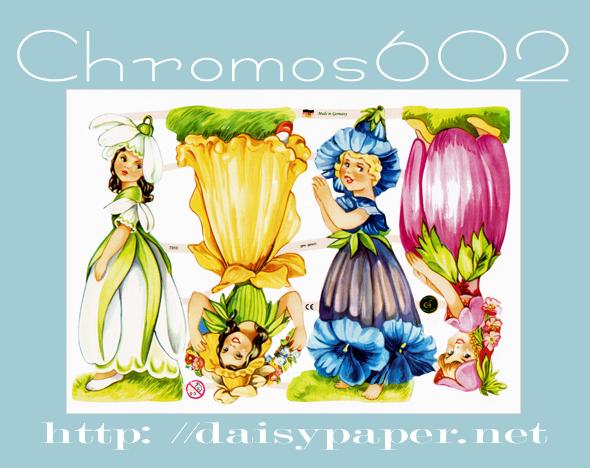 クロモス 602【DAISY】CHROMOS、chromos、Germany、グランツビルダー、ドイツ製、子供、レトロ、コラージュ、スクラップブッキング、デコパージュ