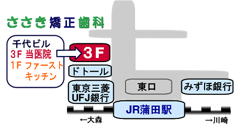 ささき矯正歯科の地図(蒲田駅東口・徒歩1分)