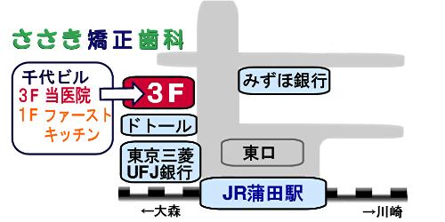 ささき矯正歯科の地図(蒲田駅東口・徒歩1分
