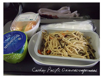 Cathay Pacific Oriental vege meal