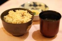 鮮魚と筍の炊込ご飯&ふのりと葱の味噌汁&お新香