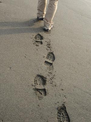 砂浜の足跡 - 無料写真素材