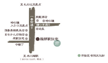 川越 蔵造り 服部家地図