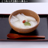 かなりピンボケ 杏仁豆腐を撮る