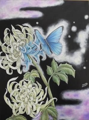 チョークアートで蝶