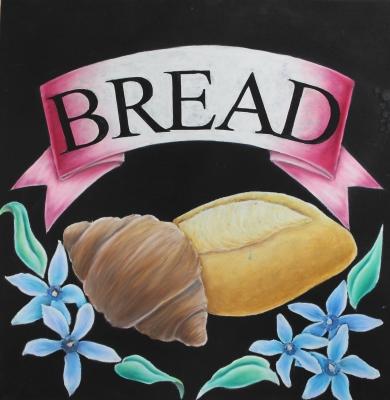チョークアートでパン