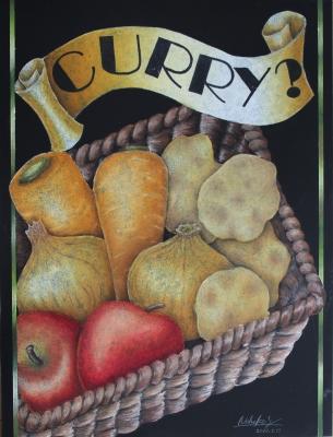 チョークアートで野菜たっぷりカレー