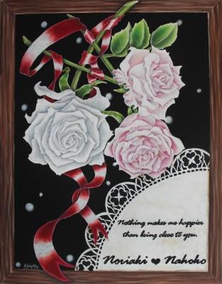 チョークアートで薔薇のウエディング1