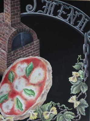チョークアートでピザのイタリアン
