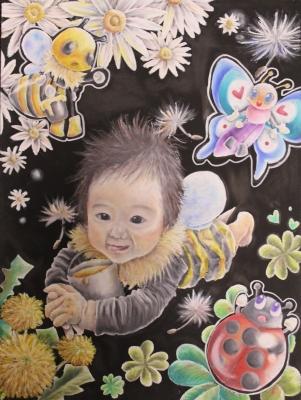 チョークアートで赤ちゃん