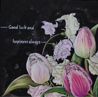チョークアートでチューリップの花束プレゼント