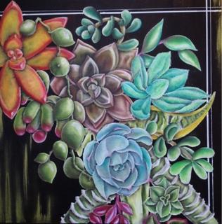 チョークアートで多肉植物のリース