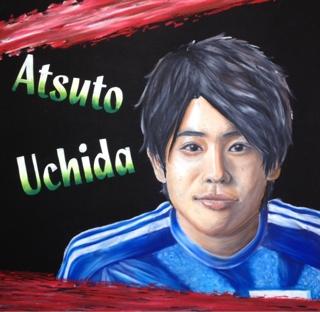オイルパステルのチョークアートで日本代表内田篤人選手の似顔絵