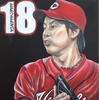 オイルパステルのチョークアートでカープの前田健太投手の似顔絵