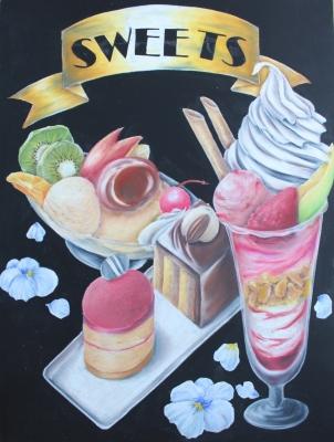 チョークアートでパフェ、プリン、ケーキのメニューボード