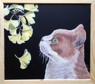 チョークアートで秋。猫とイチョウ