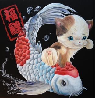 チョークアートでまねきねこと鯉