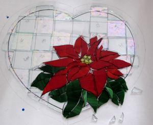 ポインセチア クリスマス ステンドグラス パネル