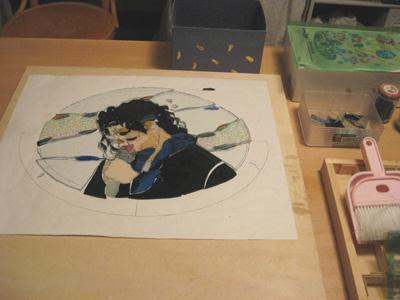 マイケルジャクソン 似顔絵 ステンドグラス