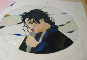 マイケル・ジャクソンのステンドグラス似顔絵パネル