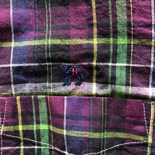 JOURNEYエンブロイダリー マドラスチェックシャツ パープル ラクダ (600x600).jpg