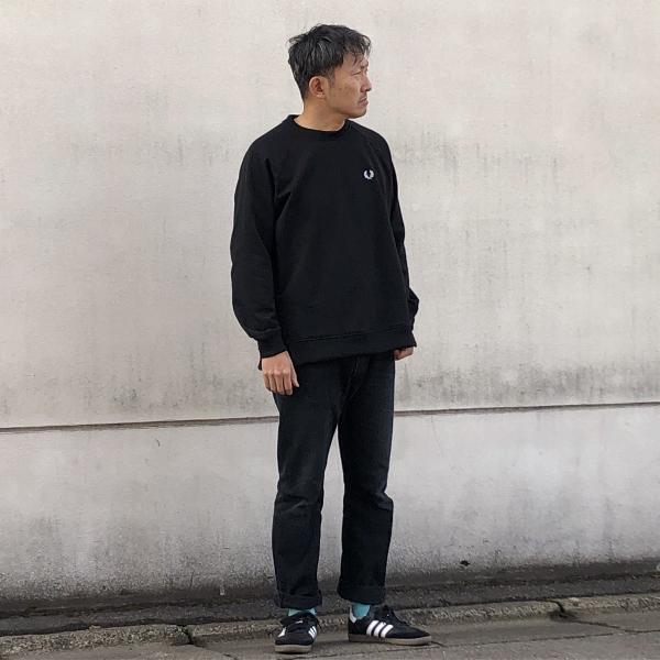 Taped Crew Neck Sweatshirt フレッドペリー  ブラック (600x600).jpg